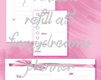 printable daily refill a5 -instant dowload- pink bow