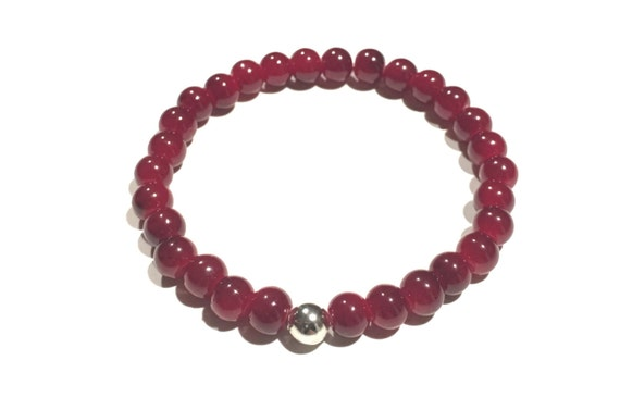 Red glass beaded bracelet | Red | Silver | Perfect gift | Bracelets | SCARLET