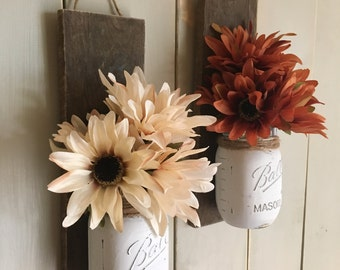 Rustic Fall Wall Sconce | Mason Jar Sconce | Flower Vase Mason Jar | Rustic Decor | Painted Mason Jar | Floral wall sconce | Reclaimed Wood