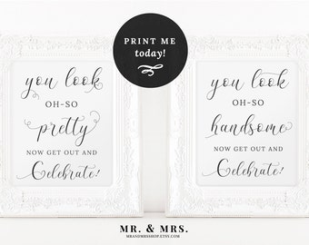 Wedding Bathroom Signs, Wedding Pretty and Handsome Signs, Bathroom Printable, Wedding Printable, Bathroom Sign, Wedding Sign, MAM201_09