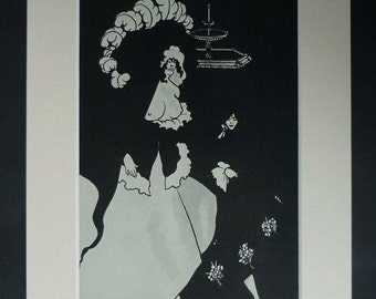 Aubrey Beardsley Print, Edwardian Erotic Decor, Available Framed, Topless Art, Erotica Gift, Aesthetic Wall Art, Messalina and her Companion