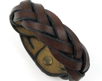 Hand Made Brown Leather Wrist Band Braided Leather Bracelet 5 Way Mystery Braid Large Wristband Traditionally Braided Tightly For Retro Look