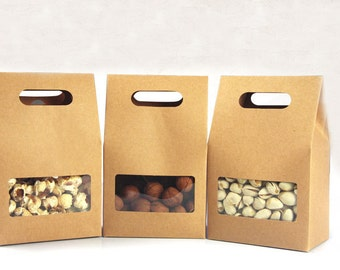 10*15.5*6cm 50pcs Quality packaging Kraft paper Stand Up bag Food Square window box Bags of nuts/Tea/Cake/Cookies/Coffee bags