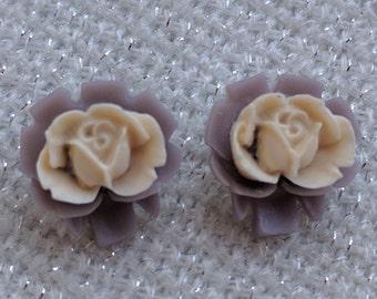 Purple and White Rose Resin Earrings
