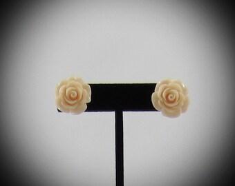 Large Light Peach Rose Resin Earrings
