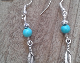 Turquoise or Green or Bronze Feather Charm Drop Earrings Boho Style