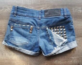 Vintage Studded Denim Shorts