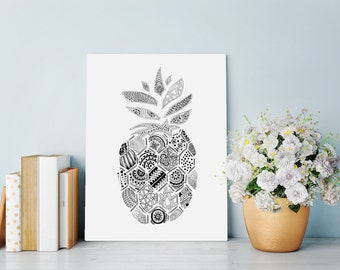 Wall Art Print featuring intricate hand drawn Pineapple