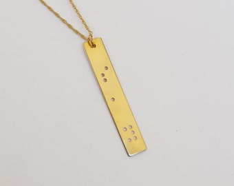 SAY Necklace, Handmade, Braille Inspired Necklace, Engraved Necklace, 14k Gold Plated, Braille Necklace, word Jewelry
