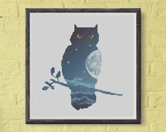 Owl Cross Stitch Pattern, Owl PDF Pattern, Abstract Cross Stitch Pattern, Cross Stitch Chart, Modern Cross Stitch Template, Nature, Xstitch