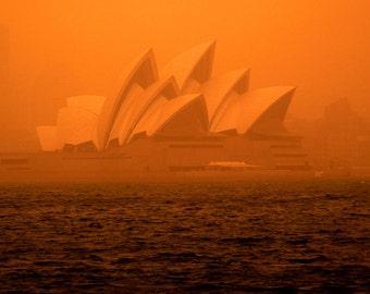 Ochre Opera: Sydney Dust Storm 2009, Fine Art Photography,Wall Art,Landscape,Sydney Opera House photo, Home Decor photo, image, Orange