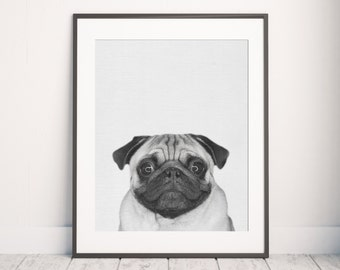 Pug Print, Animal Print, Nursery wall art, Minimalist design, Pug Photo, Dog print, Dog art, Kids print, Pug art, Puppy print, Wall Decor