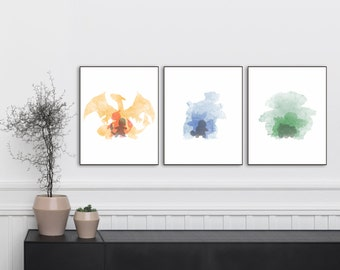 "Pokemon Print set of 3 8""x10"" Charizard Blastoise Venusaur, Abstract Poster, Wall Decor, Gift Ideas, Printable Art, Art for kids, Pokemon"
