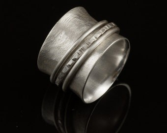 SPINNER Ring - Brushed Sterling Silver, silver, silver jewelry, rings, silver ring, silver rings, sterling silver, artisan, artisan jewelry