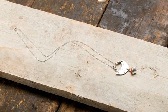 Necklace half moon RAM and Cornelian - constellation - money 925