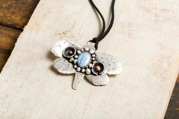 Necklace Butterfly in solid silver - copper - cyanite blue