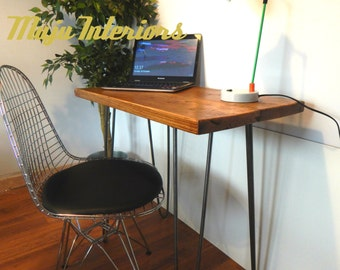 Simple Desk/Console Table Rustic Retro Industrial Reclaimed Wood with Hairpin Legs