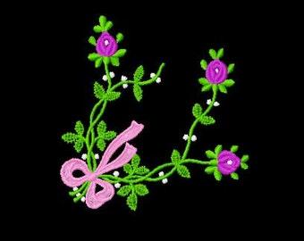 Floral Border Edge Frame Machine Embroidery Design 1, 4x4 Hoop,  9 Formats