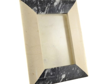 carrera marble and light tan travertine picture frame, 8.5""