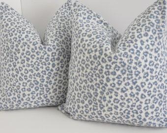 Blue Cheetah Pillow Cover- Blue White Cheetah Print - Pillow Cover - Blue Leopard Pillow - Blue Cheetah Print Pillows- Light Blue Pillow
