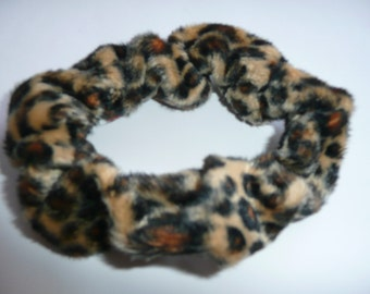 Handmade Hair Scrunchie Leopard Print Scrunchie Animal Print Scrunchie Textured Scrunchie Furry Hair Scrunchie Hair Tie Ponytail Holder