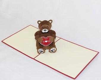 I Love You Bear, Pop Up Card, Birthday Card, Greeting Card, Birthday Pop Up Card, Christmas Card, Get Well Card, Anniversary Card, 168