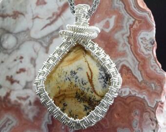 Jasper landscape Wire silver plated copper wire Wrap pendant