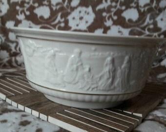 Vintage Lenox Nativity Bowl - Embossed Ceramic - 1991