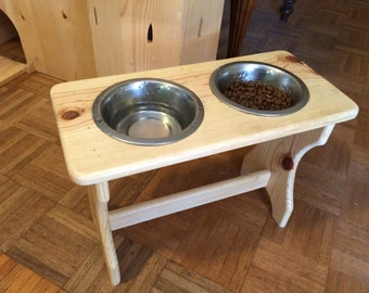 Handcrafted Wood Dog Bowl Stand