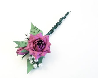 Lapel rose for the groom, origami rose, buds and leafs, lilac