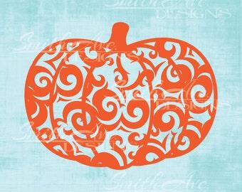 Swirly Pumpkin, SVG File, Quote Cut File, Silhouette or Cricut File, Vinyl Cut File