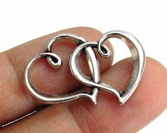 Double Heart Charm Link Antique Silver Connector Handmade Jewelry Finding 20x32mm 5pcs