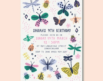 Butterfly Birthday Invitation | Girls Birthday Party | Printable Birthday Invitation | Personalised Downloadable Invite | Digital Invite