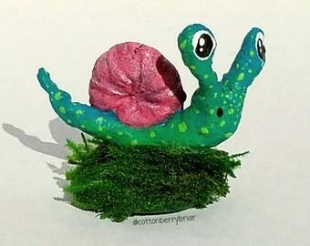 Handmade Spun Cotton Snail Figure