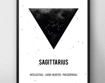 Printable artwork , sagittarius Zodiac Print, sagittarius Zodiac Sign , Zodiac Art,watercolor artwork , Geometric illustration ,sagittarius
