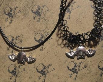 Hanging Bat Necklace Hanging Bat Choker Upside down bat Halloween Necklace Halloween Choker Bat Choker