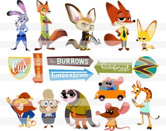 Zootopia - Clipart - Large Format 12 inches 300 dpi - Zootopia Party