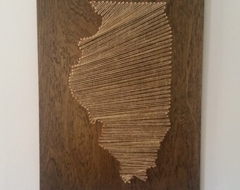 Twine and Wood State Wall Hanging