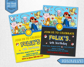 Pokemon invitation, Pokemon birthday invitation, Pokemon party invitation, Pokemon personalized invitation! Digital invite.
