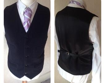Black Waistcoat Wool Cashmere Waistcoat Mens Vest Made to your measurements Groom / groomsmen
