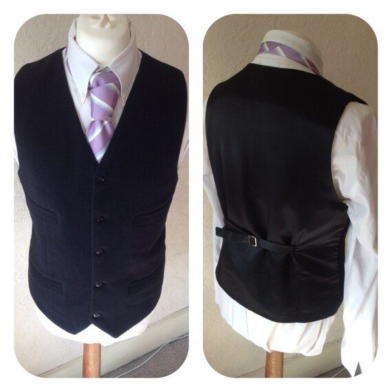 Black Waistcoat Wool Cashmere Waistcoat Mens Vest Made to your measurements Groom / groomsmen