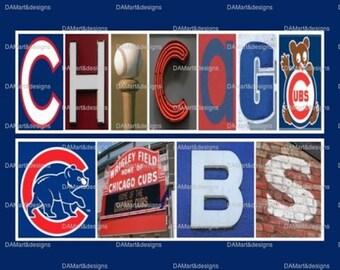 Chicago Cubs  Framed Alphabet Photo Art