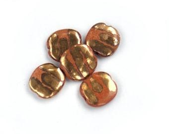 5x THICK GOLD STRIPE vintage salvage ceramic orange beads - heavy vintage beads bead craft jewellery supplies beading african tribal ethnic
