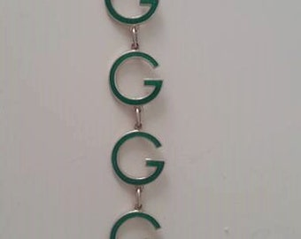 Rare Vintage '60  Gucci G bracelet in 925 silver and green enamel in perfect condition