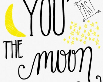 I Love You Printable, black and white, yellow, moon, stars, love, digital art, spouse gift, girlfriend gift, boyfriend gift, outer space