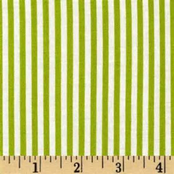 Green Fabric - Michael Miller Little Stripe Fabric - Green Narrow Stripe Fabric