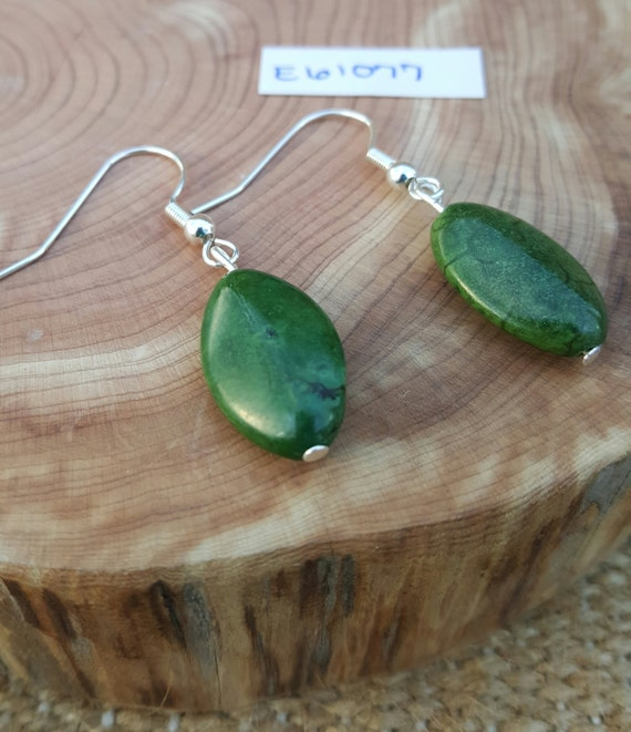 Green Stone Earrings / Natural Stone / Semi Precious Gemstone Earrings / Dangle Earrings / Hippie Earrings / Boho Jewelry /E61077