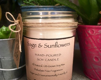 Snickerdoodle Hand-Poured Soy Candle (8oz Jelly Jar, Infused with Essential Oils, Vegan, Natural, Sustainable, Earth-Friendly, Housewarming)