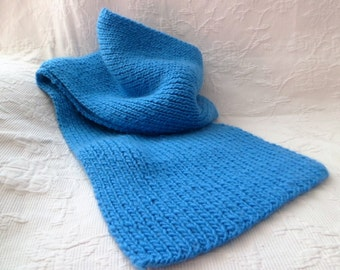 Scarf turquoise adult wool, hand-knitted