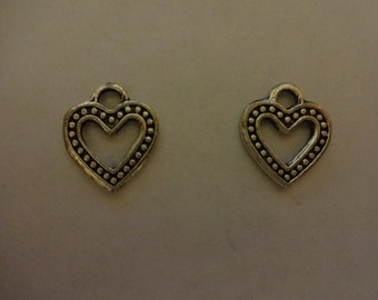 Tibetan Fancy Heart Charm Pendants Lovely Dotted Hearts Brightly Plated Antique Silver 15mm x 12mm